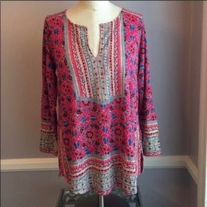 NWT Lucky Brand 3/4 sleeve pink mixed print top S